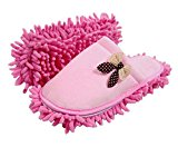 Pink Bowknot Cotton Mop Slippers Removable And Washable (26CM)