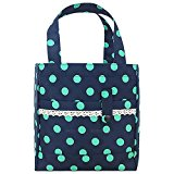 Wocharm Brand New High Quality Thermal Insulated Lunch Bag School Lunch Bag Picnic Box Storage Case Pouch Tote Bag Portable Cooler Travel Organizer (Navy With Green Dots)