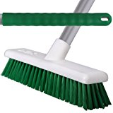 3 Pack Of 45cm Green Soft Hygiene Sweeping Brushes With 125cm Handles For Home & Industrial Floors - Comes With TCH Anti-Bacterial Pen!