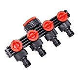 Bluelover 1/2 Inch 4 Way Splitter Garden Water Hose Tap Internal Thread Quick Connector with Switch Valve