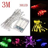 Bluelover 3M 30 LED Battery Powered Christmas Wedding Party String Fairy Light-Yellow