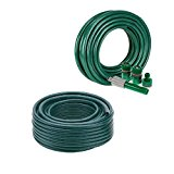 NEW 15 METER NO KINK REINFORCED TOUGH GARDEN HOSE REEL PIPE WATER HOSEPIPE GREEN