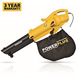 Powerplus 3000 Watt Garden Leaf Blower Vac 3 in 1 Vacuum, Shredder, Blower with 50L Collection Bag POWXG4035 - 3 Year Home User Warranty