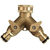 Bluelover 3/4 Inch 2 Way Splitter Brass Water Hose Tap Quick Connector Garden Irrigation Tool Fitting
