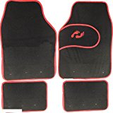 NEW 4PC UNIVERSAL NON SLIP BLACK CARPET CAR MAT SET REAR FRONT BLACK FLOOR MATS
