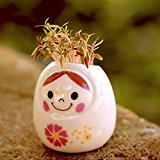 Bluelover DIY Mini Ceramic Doll Green Grass Potted Plant Desktop Office Decor -White