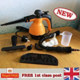 Electric Handheld Steam Cleaner Portable Hand Held Powerful Steamer Cleaning Set with accessories MarkUK® (Orange, steam cleaner)