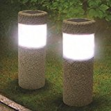 Bluelover Solar Power Stone Pillar White LED Lights Garden Lawn Courtyard Decoration Lamp