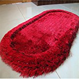 New day-Superfine silk elastic wire oval carpet / bedroom bedside mat / bay window carpet , black red , 70*140cm